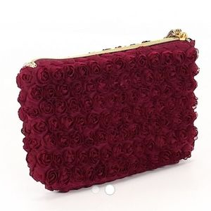 Neiman Marcus Rose Embroidered Wristlet